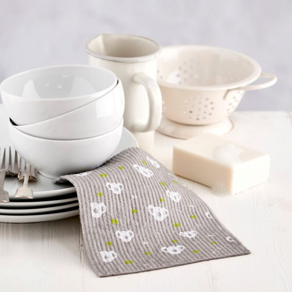 Compostable Sponge Cleaning Cloths with Grey Koala pattern