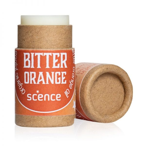 Bitter Orange Lip Balm by Scence, tube is open so you can see the balm inside.