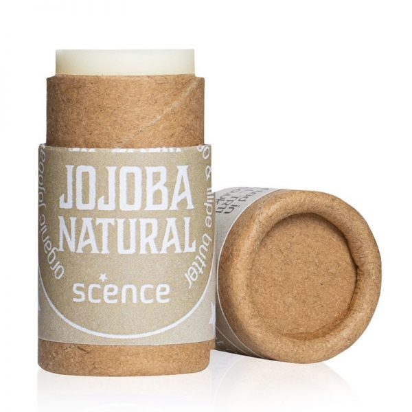 Jojoba Lip Balm by Scence, tube is open so you can see the balm inside.