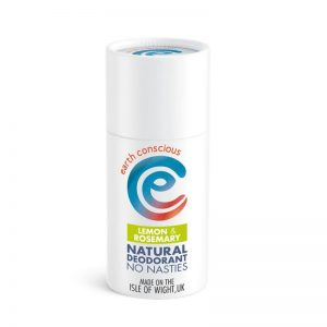 Lemon and rosemary natural deodorant stick in cardboard tube