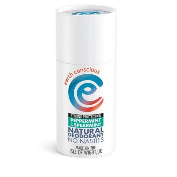 Peppermint and spearmint natural deodorant stick in a cardboard tube