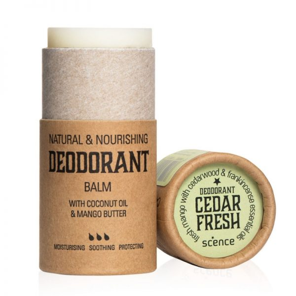 Cedar Fresh deodorant by Scence, tube is open so you can see the deodrant inside the tube.