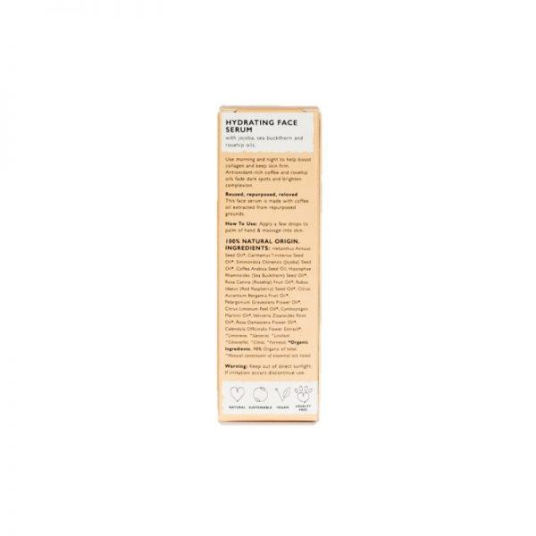 Back of hydrating face serum box