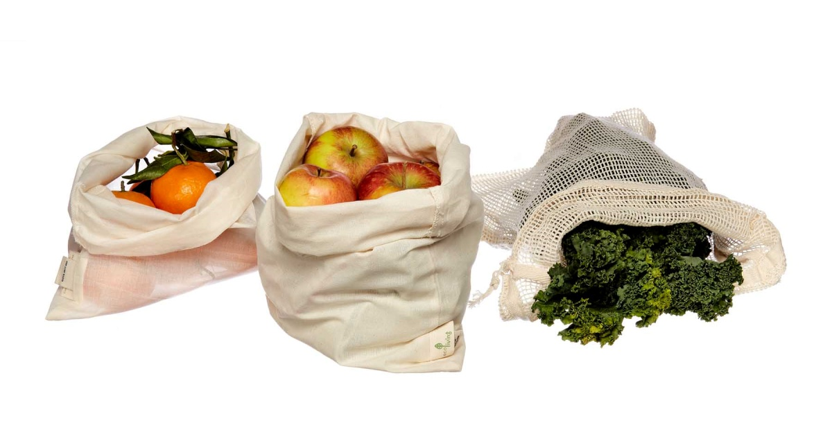 plastic free shopping bags with produce inside