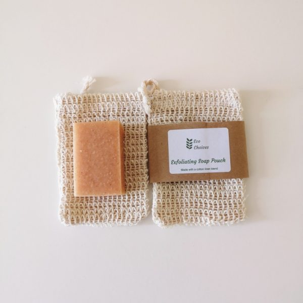 Soap pouch with soap bar and with label