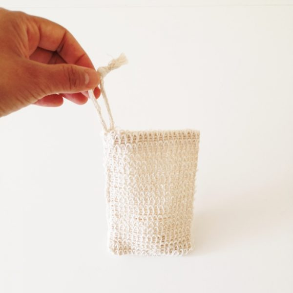 Soap Pouch being held to show the string loop